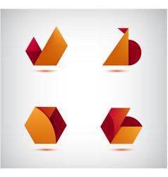 set abstract 3d origami logos icons vector image