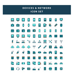 set devices and network icon with filled vector image