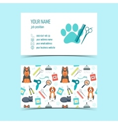 Set of business cards for animal grooming vector