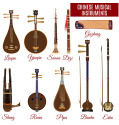 Set of chinese musical instruments vector