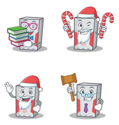 set of computer character with book santa candy vector image