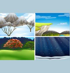 set of nature landscape scene vector image