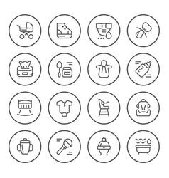 set round line icons of newborn vector image