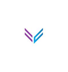 shape line v logo vector image