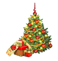 sketch with brightly decorated christmas tree a vector image