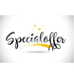 Specialoffer word text with golden stars trail vector