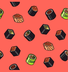 Sushi flat outline isomeric pattern vector