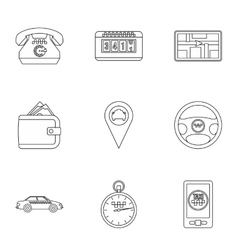 Taxi order icons set outline style vector
