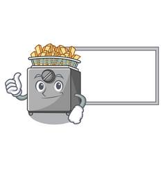 Thumbs up with board cartoon deep fryer in the vector