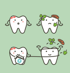 Tooth cleaning food stuck in teeth by floss vector