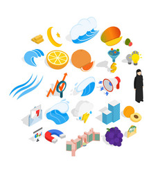 Training of economics icons set isometric style vector
