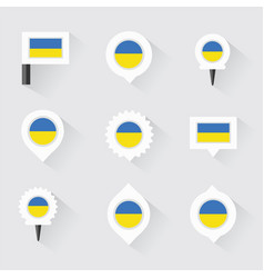 ukraine flag and pins for infographic and map vector image