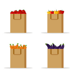 vegetables set organic vegetables in paper bag vector image