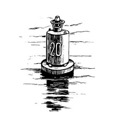 Warning buoy at river banks vector