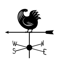 weathervane - black running rooster3 vector image
