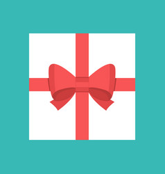 white square gift box with red ribbon and bow vector image