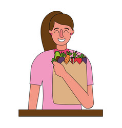 woman with bag grocery healthy food vector image