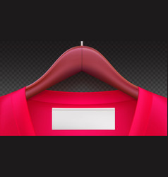 wooden clothes hangers with red clothes empty tag vector image