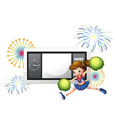 A cheerleader dancing in front of a scoreboard vector image