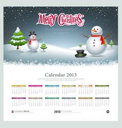 Calendar 2013 Merry christmas and snowman vector image vector image