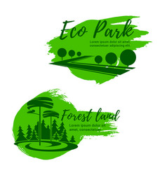 eco park and green forest landscape icon set vector image