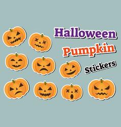halloween pumpkin set of stickers emoji patches vector image