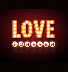 neon sign love happy valentines day typography vector image