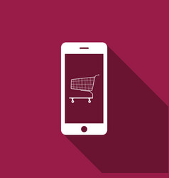 online shopping cart on screen smartphone icon vector image