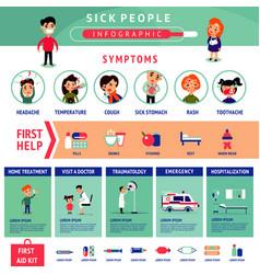 sick people infographic template vector image