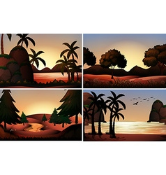 Silhouette view of ocean and rivers vector image vector image