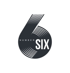 Black and white number six logo formed by vector image vector image