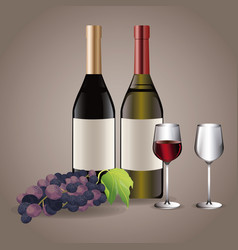 bottle wine glass cups drink image vector image