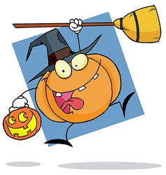Cartoon Character Halloween Pumkin With A Broom vector image vector image