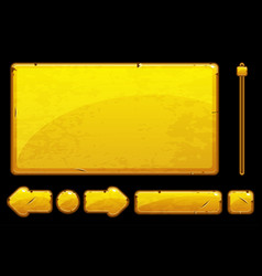 cartoon old golden assets and buttons for ui game vector image vector image
