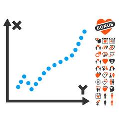 function plot icon with valentine bonus vector image vector image