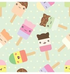 pattern of cute kawaii style ice cream bars vector image vector image