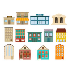 town and suburban buildings icons vector image