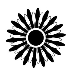 black and white silhouette of a flower vector image