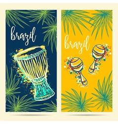 brazil carnival symbols vector image vector image
