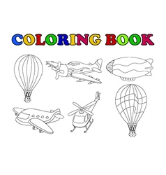 coloring book of air transportation set cartoon vector image vector image