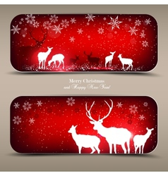 Elegant Christmas banners with deers with p vector image vector image