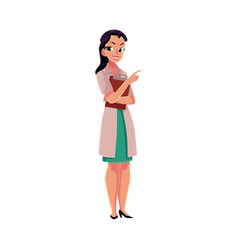 female doctor in medical coat holding clipboard vector image vector image