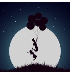 Girl and boy flying with helium balloons vector image