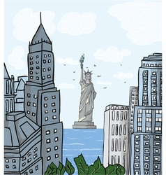 new york cartoon background vector image