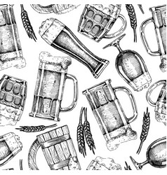 pattern with beer glasses and mugs vector image