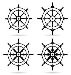 rudder in black color set on white background vector image