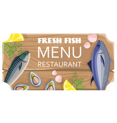 fresh fish menu restaurant with sea products vector image vector image