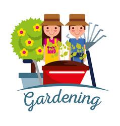gardener people with pitchfork wheelbarrow pot vector image