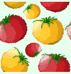 seamless pattern of pixel tomatoes vector image vector image
