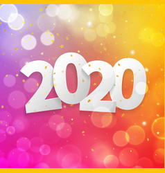 2020 happy new year greeting card with bokeh vector